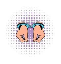Hands in handcuffs icon comics vector image
