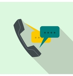 Handset with speech bubbles icon flat style vector