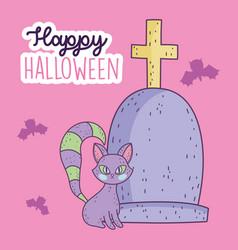 happy halloween celebration tombstone cemetery cat vector image