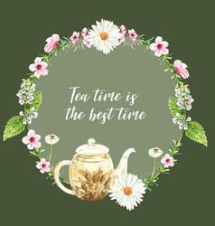 Herbal tea wreath design with aster tea pot leaf vector