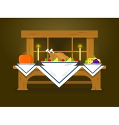 Holiday table for Thanksgiving vector image