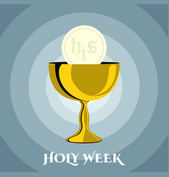 Holy week banner with a chalice and host vector