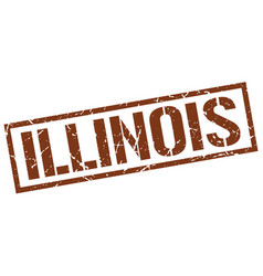 Illinois brown square stamp vector