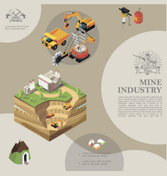isometric mining industry template vector image
