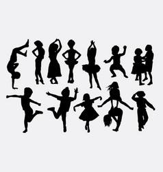 kid playing activity silhouette vector image
