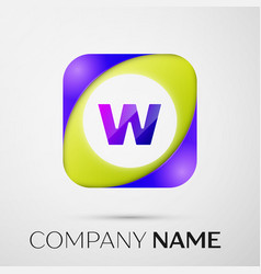 letter w logo symbol in the colorful square on vector image