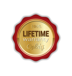 lifetime warranty sticker golden label icon badge vector image