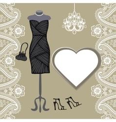 Little black dresses chandelierpaisley border vector