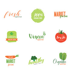 Logo organic food green market vintage style vector