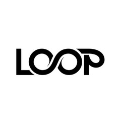 Loop logo ribbon lettering isolated on vector