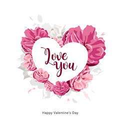 love you message on white heart with pink flower vector image