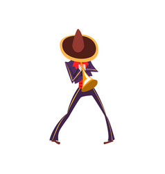 man in mexican national costume playing trumpet vector image