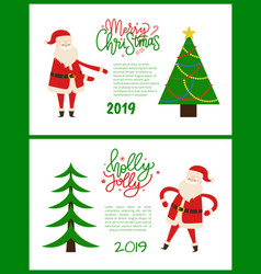 merry bright greeting card santa holding hands up vector image