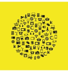 modern technology icons in circle vector image
