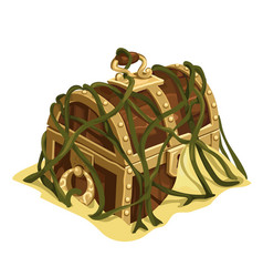 old treasure chest in sand and seaweed vector image vector image