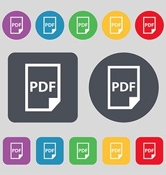 PDF Icon sign A set of 12 colored buttons Flat vector