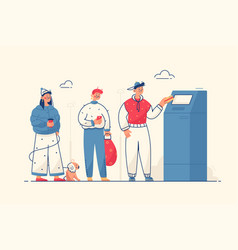 People at cash machine vector