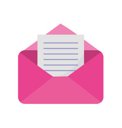 pink open envelope letter message mail icon vector image