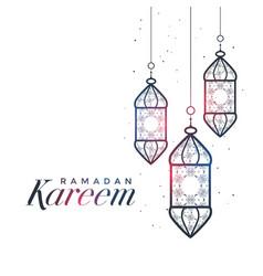 ramadan kareem card design with hanging lamps vector image