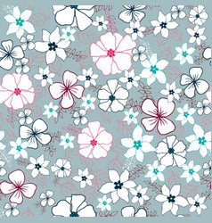 red and blue flower mix seamless pattern vector image