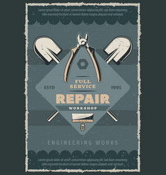Retro poster construction and repair tool vector