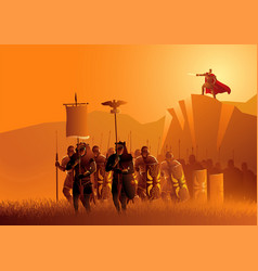Rome legionaries march in grass field vector