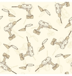 Seamless Pattern with Drills and Trowels vector image
