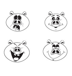 set of four funny pigs vector image