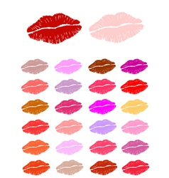 Set of lipstick kisses vector