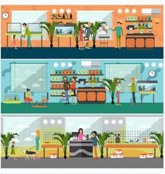 set pet shop concept posters in flat vector image