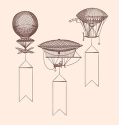 set steampunk hand drawn air balloons vector image