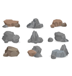 set stones and rocks for game design set gems vector image