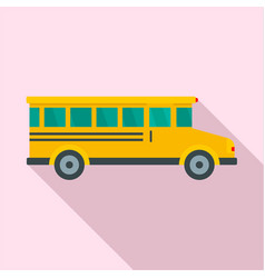 side view of school bus icon flat style vector image