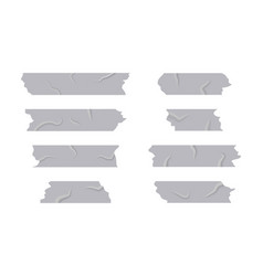 Silver adhesive tape on isolated background torn vector