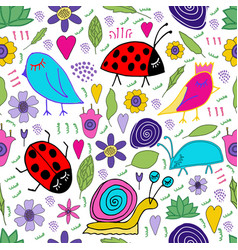 Snail bird bug ladybug flowers leaves doodle vector