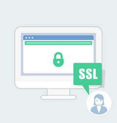 ssl certificate notice - green address bar website vector image
