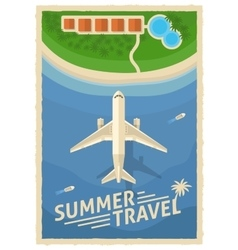 Summer Air Travel Retro Poster vector image