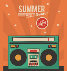 Summer music festival stereo radio vintage card vector