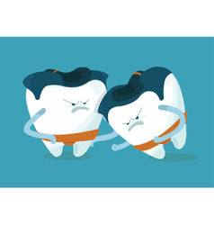 Sumo of chipped a tooth vector image