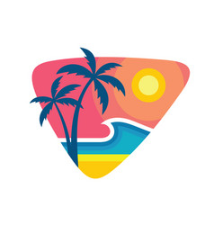 surfing summer nights - concept business logo vector image