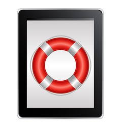 Tablet Computer With Life Buoy vector