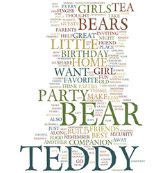 Teddy bear birthday party theme text background vector