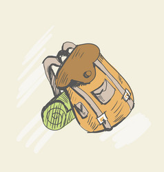 travel backpack sketch style vector image