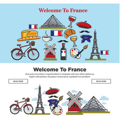 Travel to france french symbols internet web pages vector