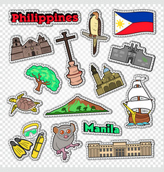 travel to philippines stickers badges vector image
