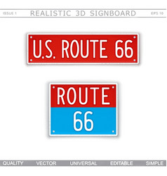 Us route 66 creative 3d signboard vector