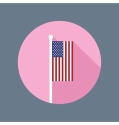 USA Flag on Flagpole Flat Icon vector