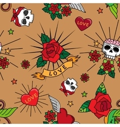 Vintage cute tattoo seamless pattern vector