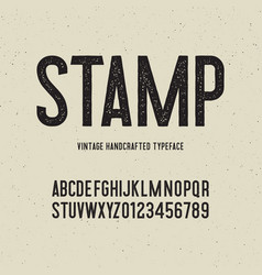 Vintage handcrafted typeface with stamp effect vector