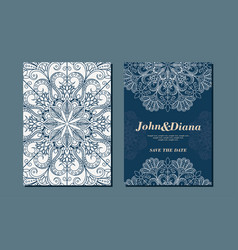 wedding invitation cards in an vintage-style blue vector image